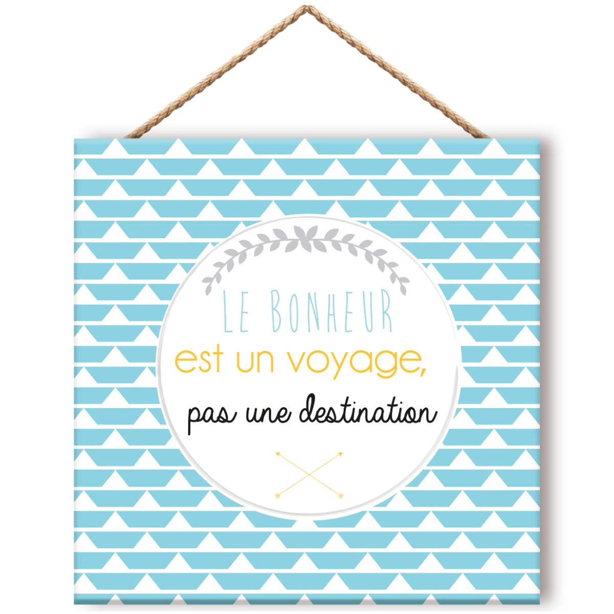 Cadre panneau bois \'Messages\' bleu (Le Bonheur est un voyage, pas une destination) - 195x195 cm - [Q8310]