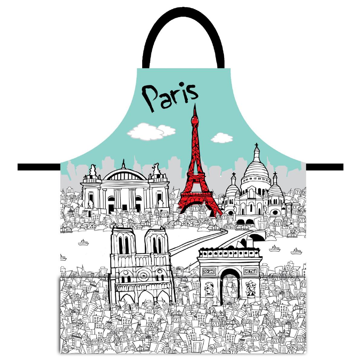 Tablier créateur \'Paris\' bleu blanc - 79x70 cm - [Q8312]