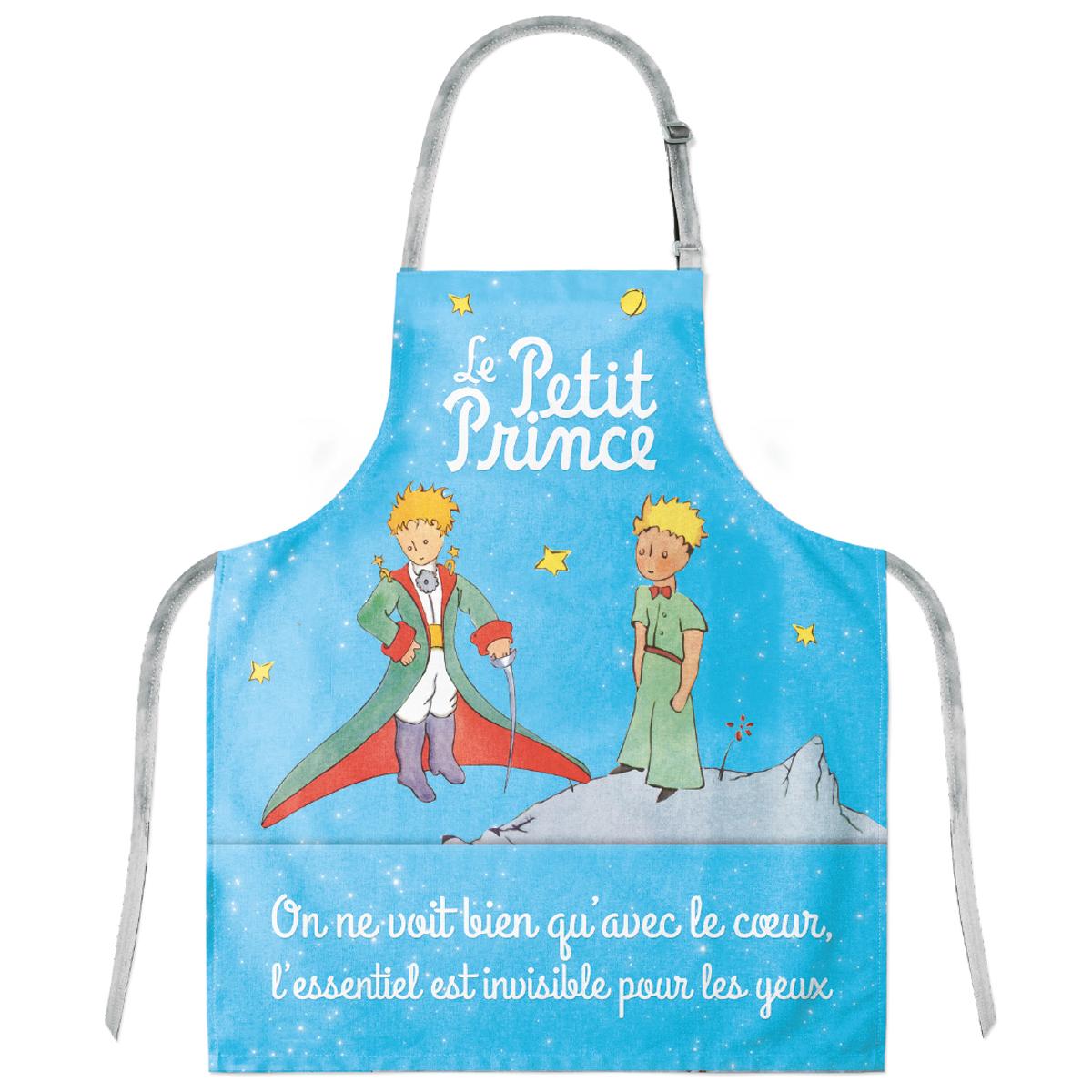 Tablier enfant coton \'Le Petit Prince\' bleu ciel (cape, épée) - 57x49 cm - [Q8313]