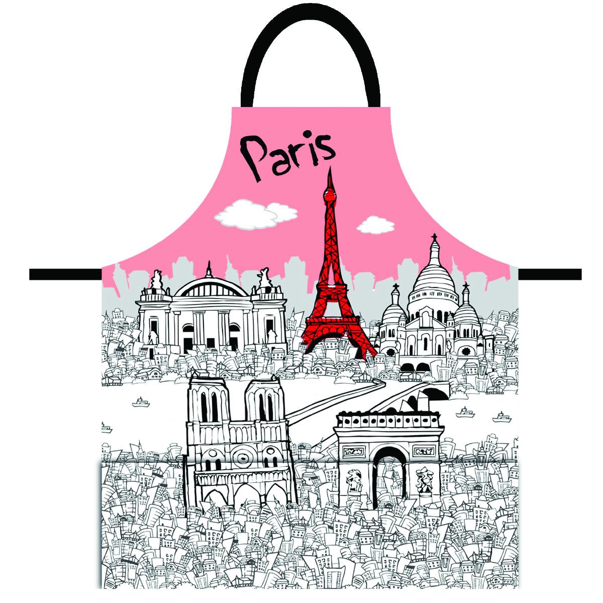 Tablier créateur \'Paris\' rose blanc - 79x70 cm - [Q8314]