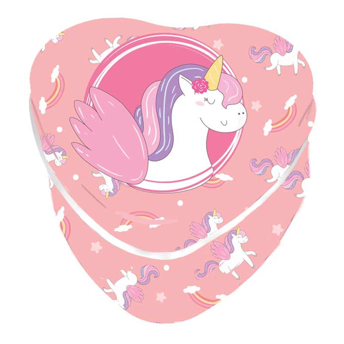 Coffret à Bijoux métal \'Licorne My Unicorn\' rose (coeur) - 7x7x4 cm - [Q8351]