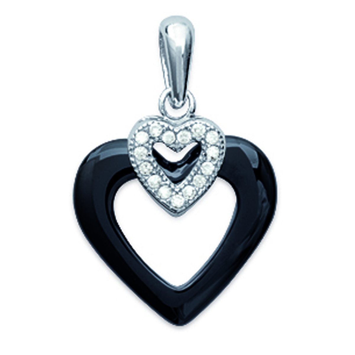 Pendentif Argent \'Love\' noir blanc (céramique) rhodié - 15x14 mm - [L3925]