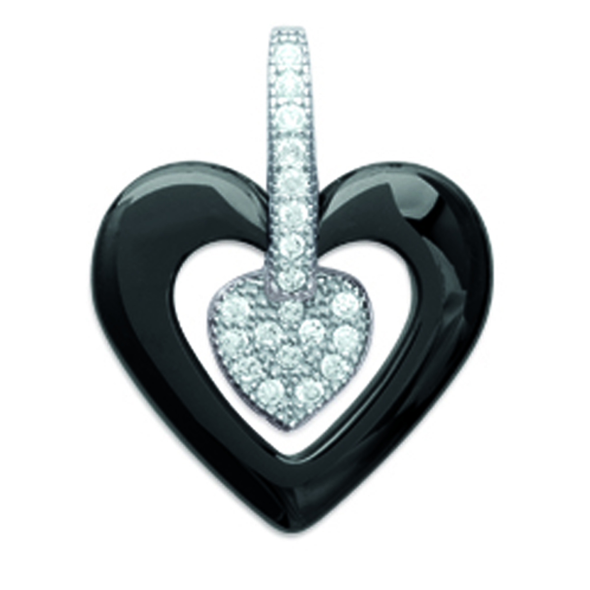 Pendentif Argent \'Love\' noir blanc (céramique) rhodié - 15x14 mm - [L3933]