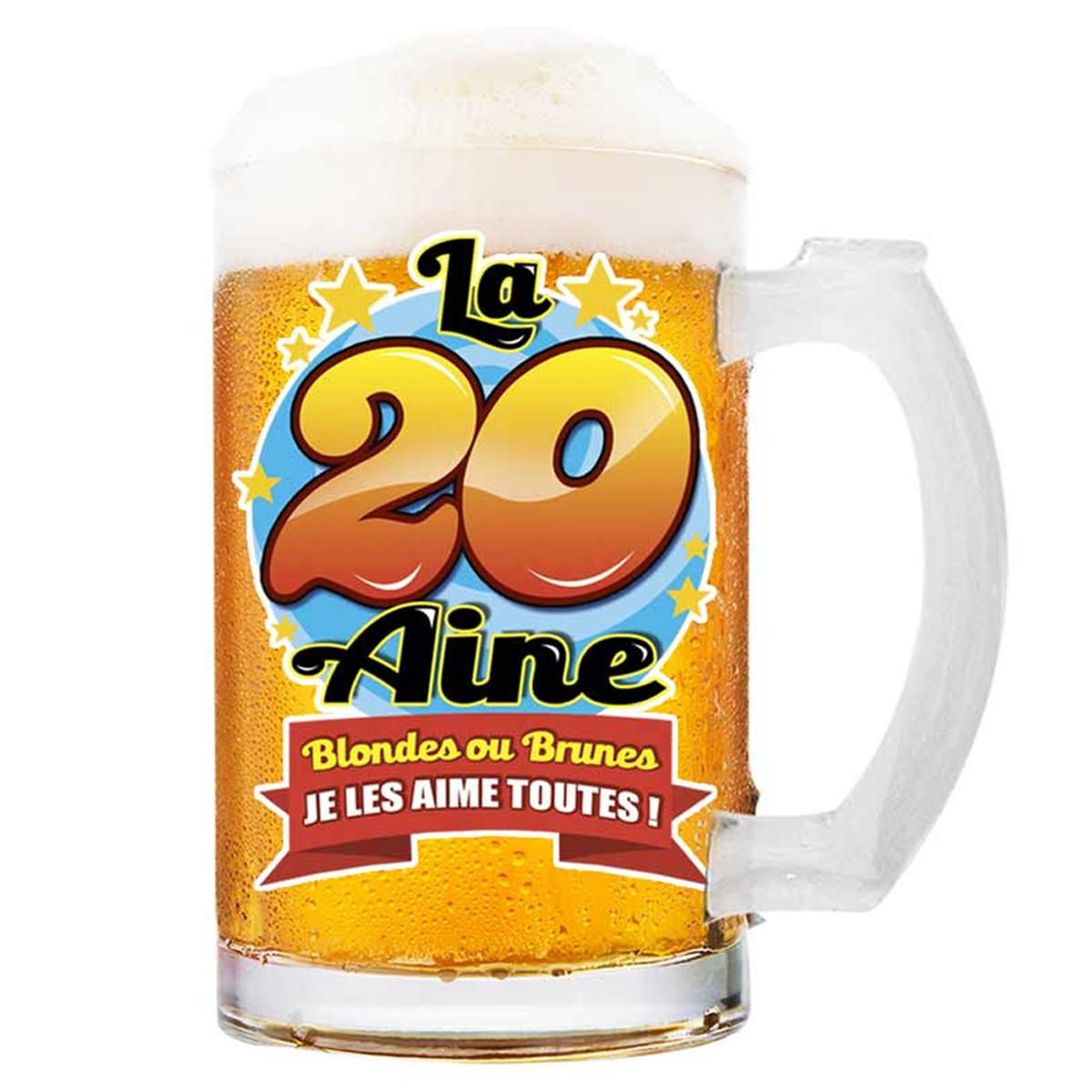 Chope à bière \'20 aine\' (Blondes ou brunes je les aime toutes !)  - 145x75 cm - [Q8391]