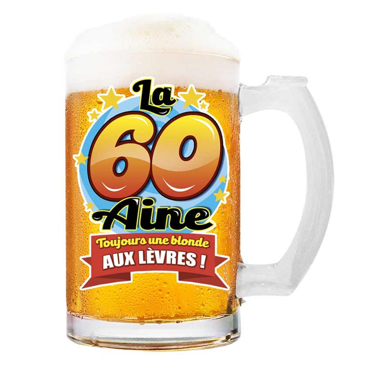 Chope à bière \'60 aine\' (Toujours une blonde aux lèvres !)  - 145x75 cm - [Q8392]