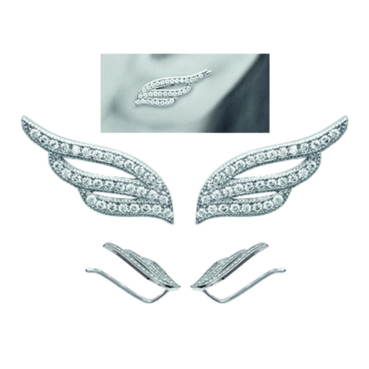 Boucles contours d\'oreilles argent \'Les Ailes d\'Ange\' blanc argenté (rhodié) - 19x7 mm - [M5575]