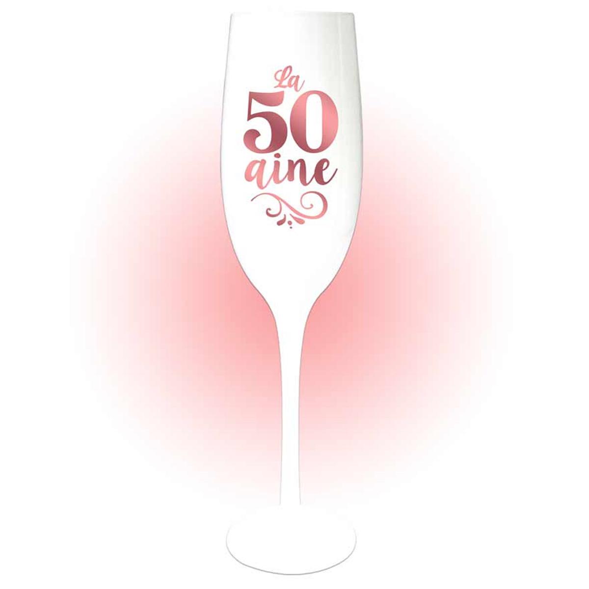 Coupe flute à champagne \'50 aine\' blanc doré rosé (gold pink) - 24x5 cm - [Q8398]