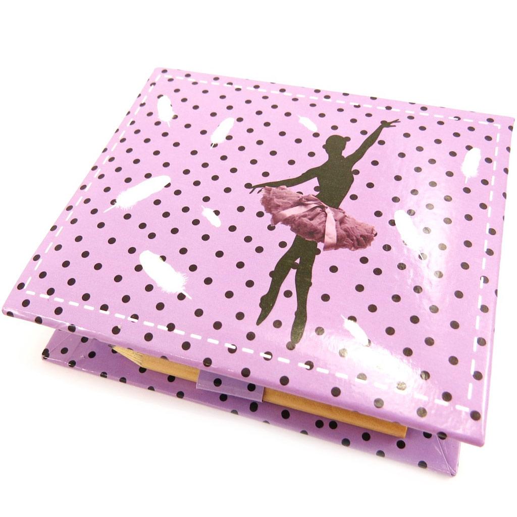 Bloc papier \'Ballerines\' violet (+stylo) - [L3986]