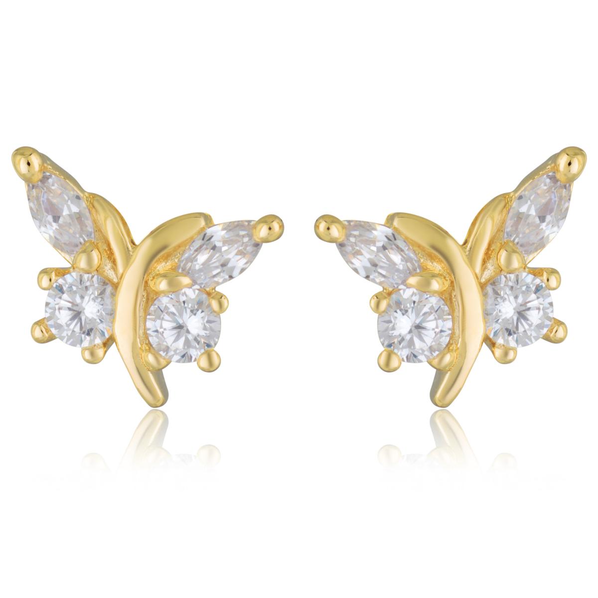Boucles Plaqué Or \'Papillons de Charme\' blanc doré - 9x8 mm - [Q2656]