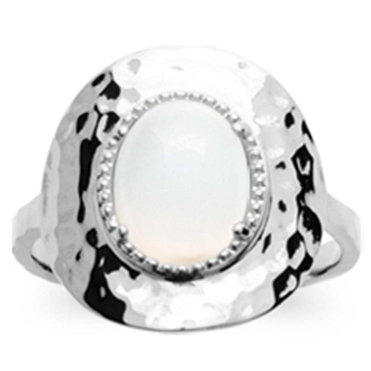 Bague Argent \'Cléopatra\' pierre de lune argenté (rhodié) - 18x17 mm - [Q8422]