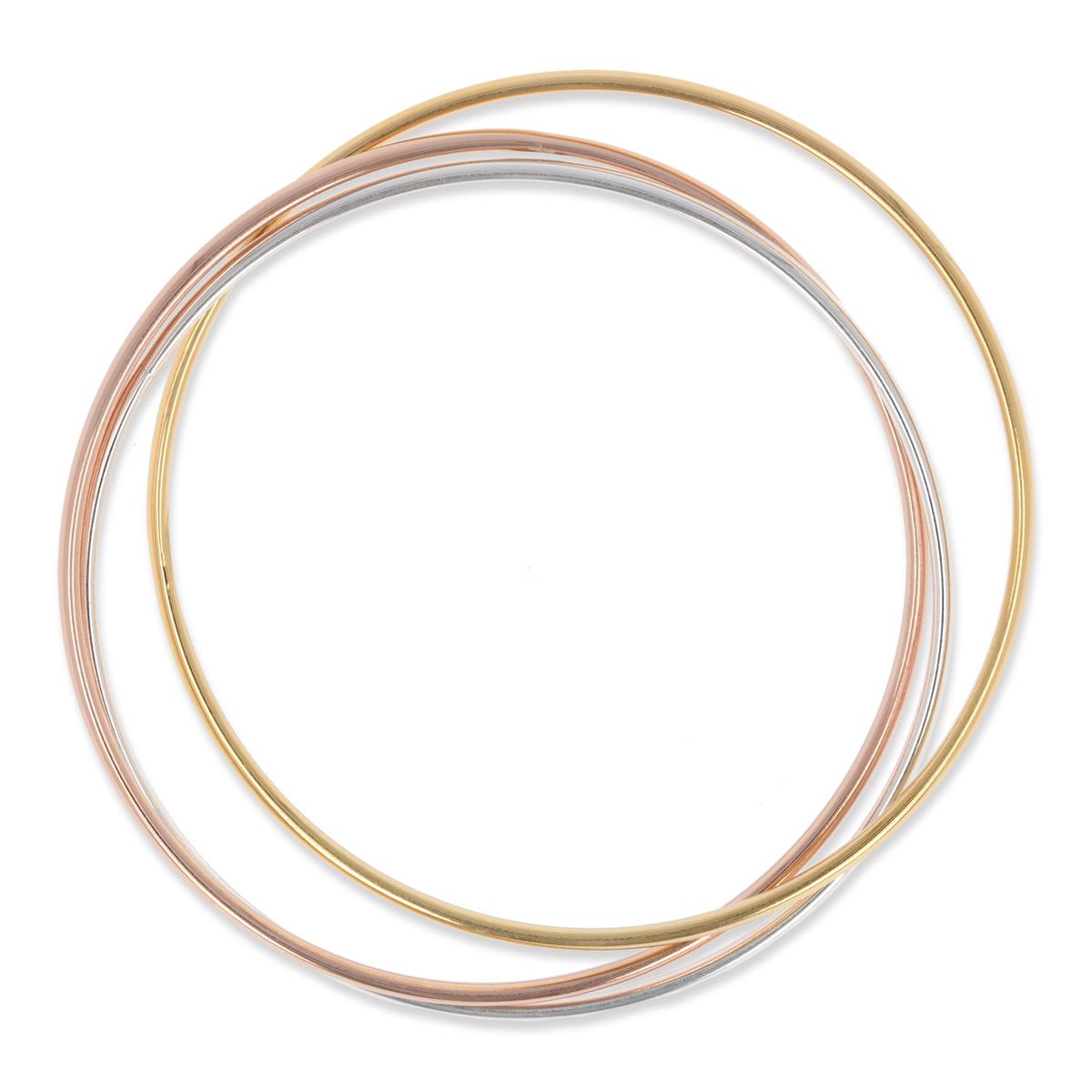 Bracelet Plaqué Or \'Demi-Jonc\' (3 rangs) - 70 mm, 3 mm - [Q2697]