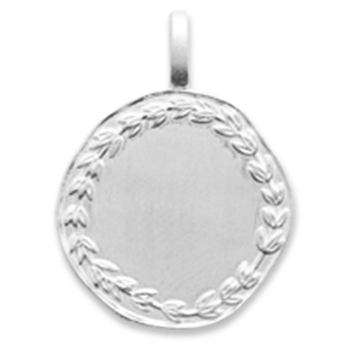 Pendentif Argent \'Antica\' argenté (rhodié) - 16 mm - [Q8476]