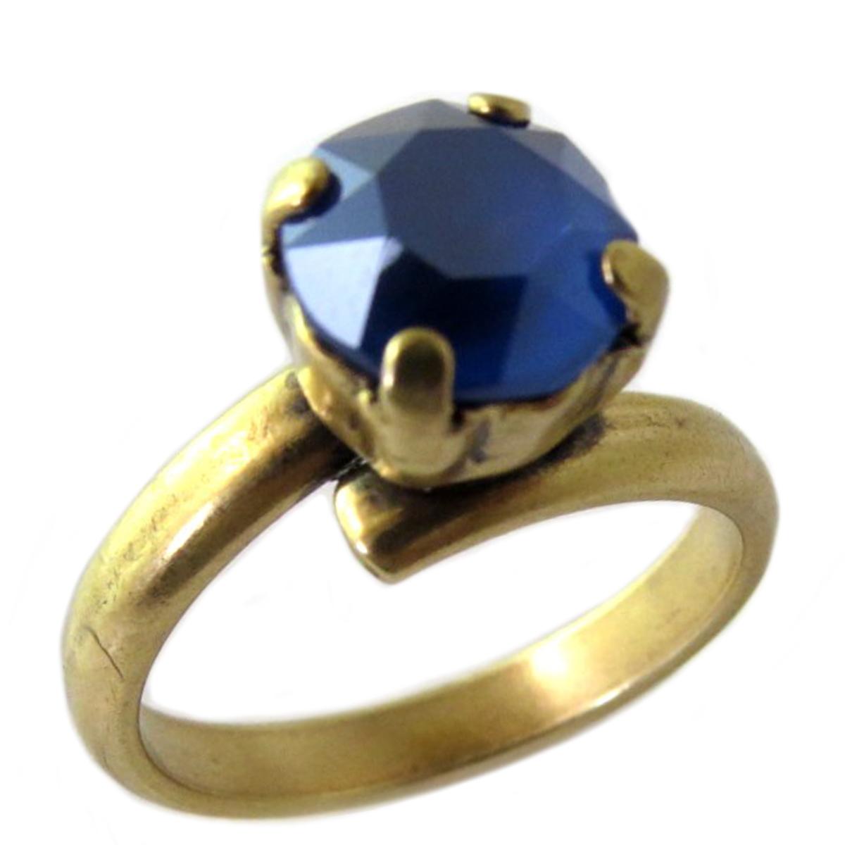 Bague artisanale \'Tsarine\' bleu foncé doré - 8 mm - [Q2717]