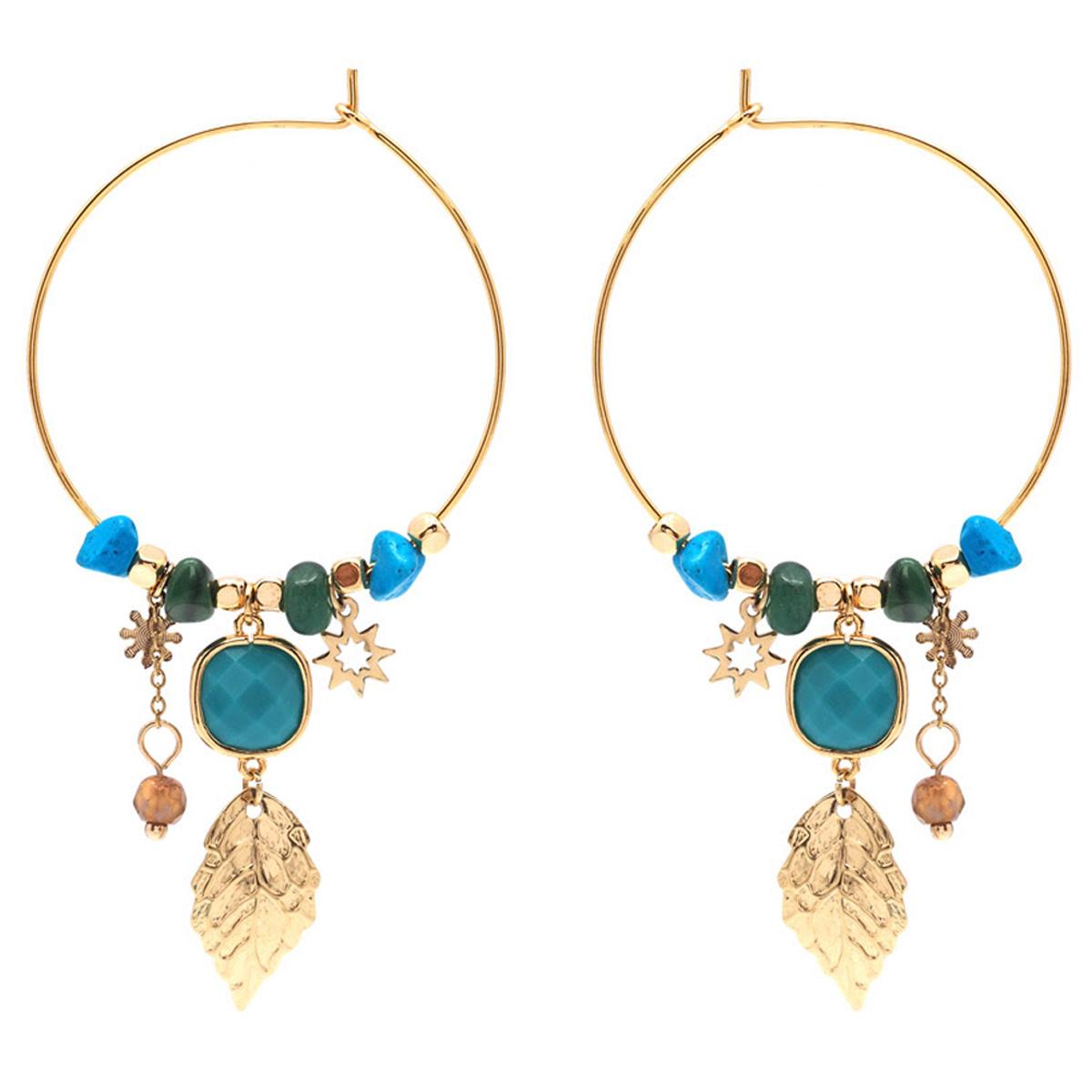 Créoles créateur acier \'Boho\' turquoise doré - 35 mm, motif 30 mm - [Q8546]