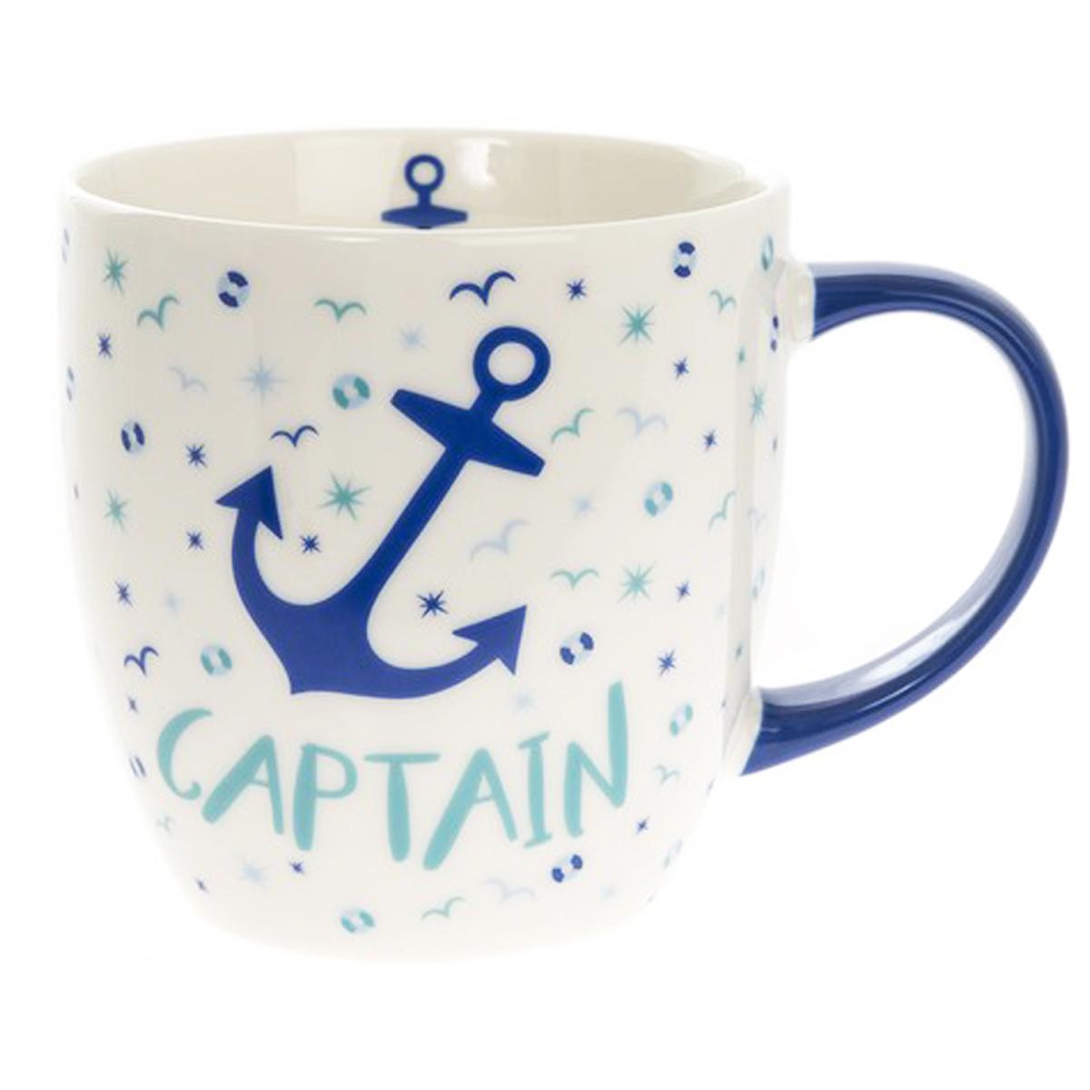 Mug porcelaine \'Captain\' blanc bleu (ancre marine) - 95x90 mm - [Q2789]