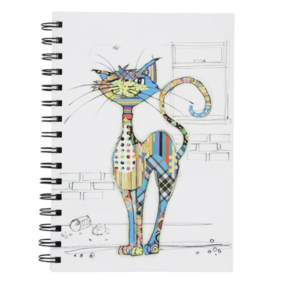 Carnet à spirales A6 \'Bug Art\' multicolore (Chat Cola) - 145x105x12 cm - [Q2811]