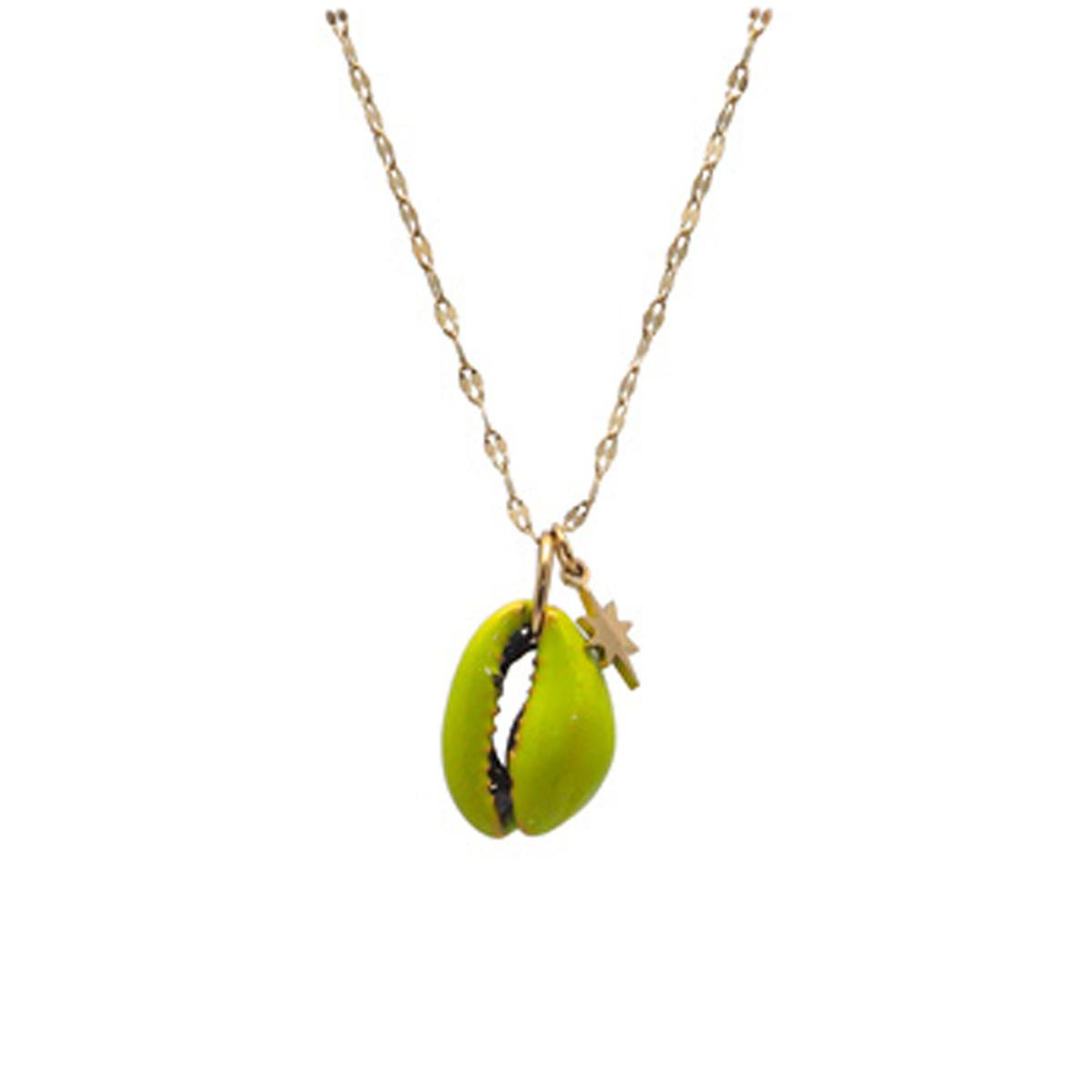 Collier créateur acier \'Cowrie\' vert doré - 20x13 mm - [Q8601]