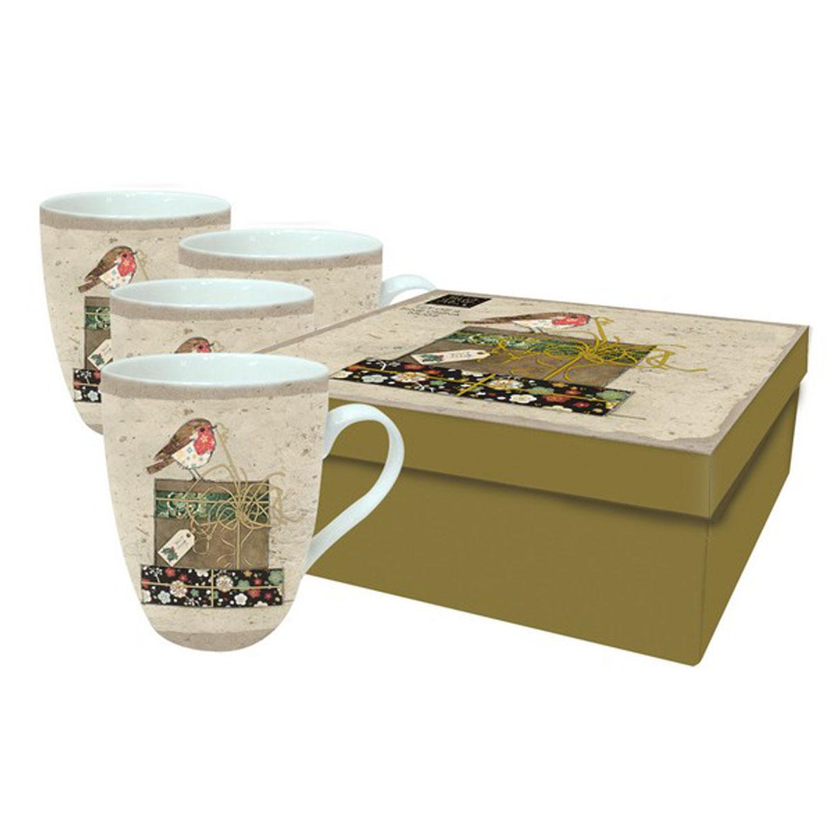 Coffret 4 mugs porcelaine \'Bug Art\' (rouge gorge noël) - 105x7 mm - [Q2818]