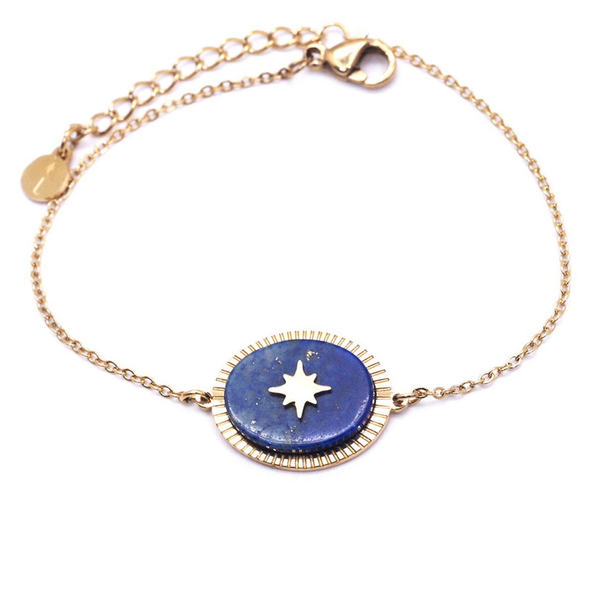 Bracelet créateur Acier \'Une Etoile est Née\' lapis lazuli argenté - 17x14 mm - [Q8669]