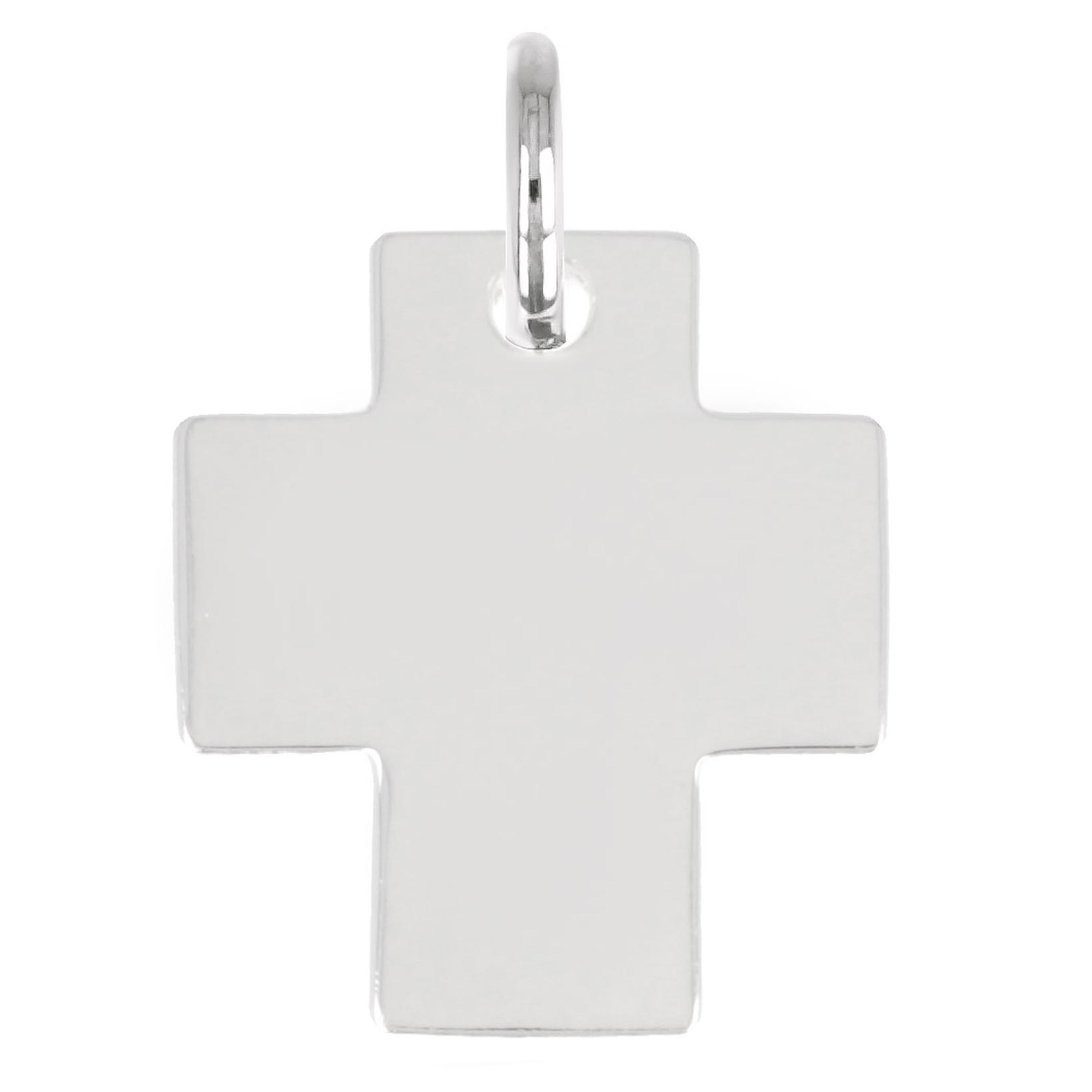 Pendentif Argent \'Croix\' argenté - 16x14 mm - [Q2934]