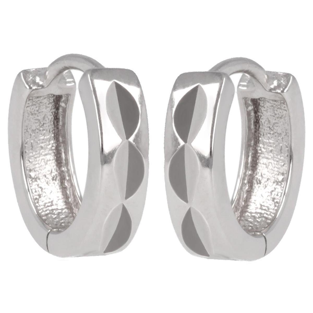 Créoles Argent \'Chorégraphie\' argenté diamanté (rhodié) - 13 mm 3 mm - [Q2938]