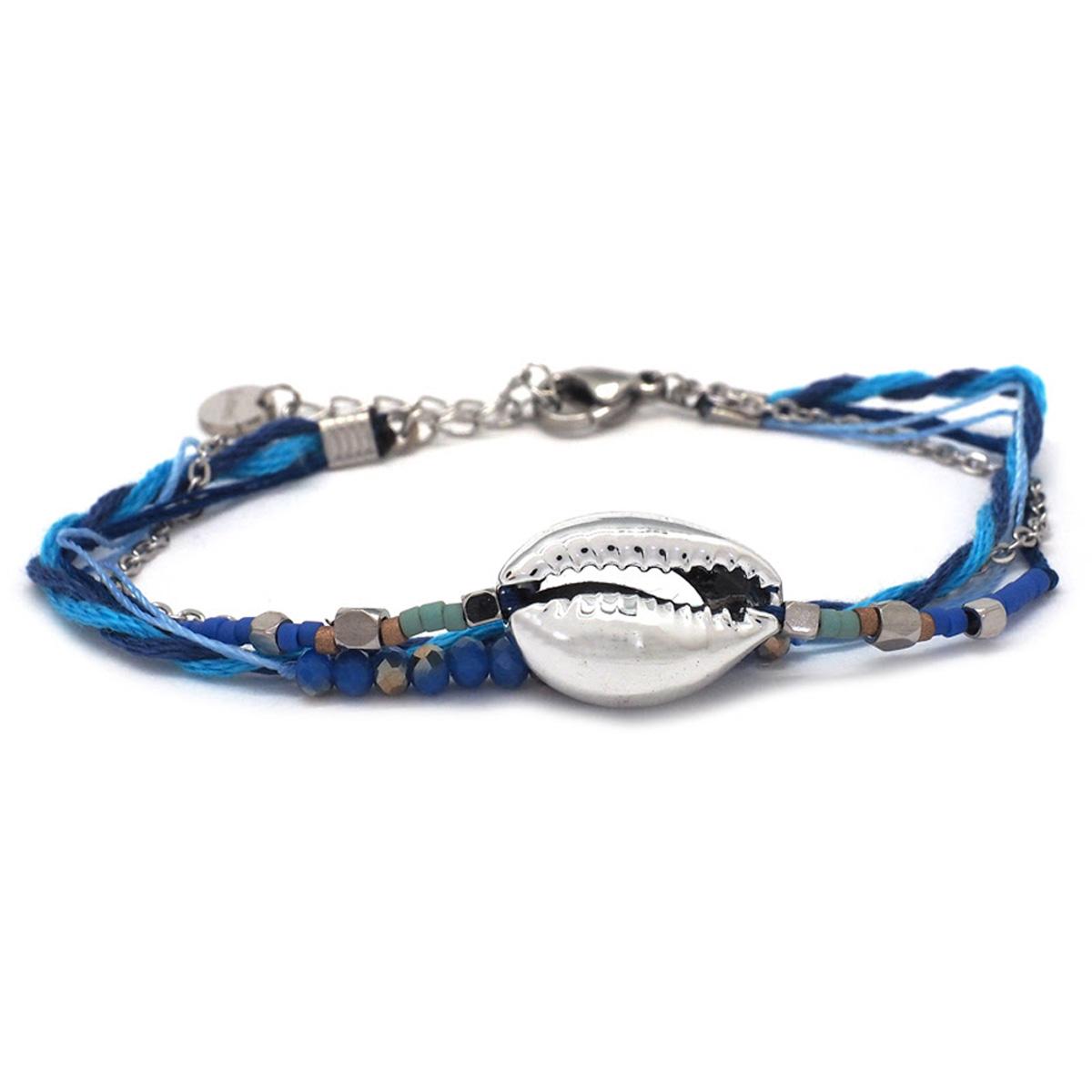Bracelet créateur Acier \'Cowrie\' bleu argenté -  15x10 mm - [Q8717]