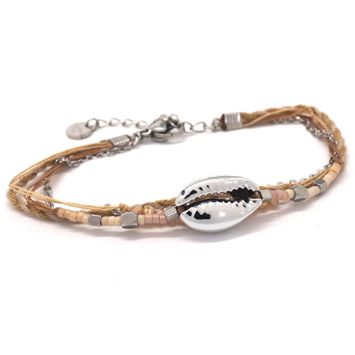 Bracelet créateur Acier \'Cowrie\' beige argenté -  15x10 mm - [Q8719]