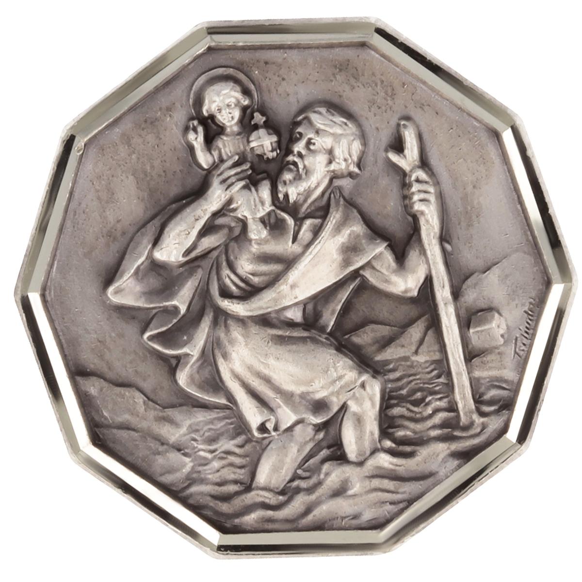 Magnet artisanal \'Saint Christophe\' argenté - 30x30 mm - [Q2984]