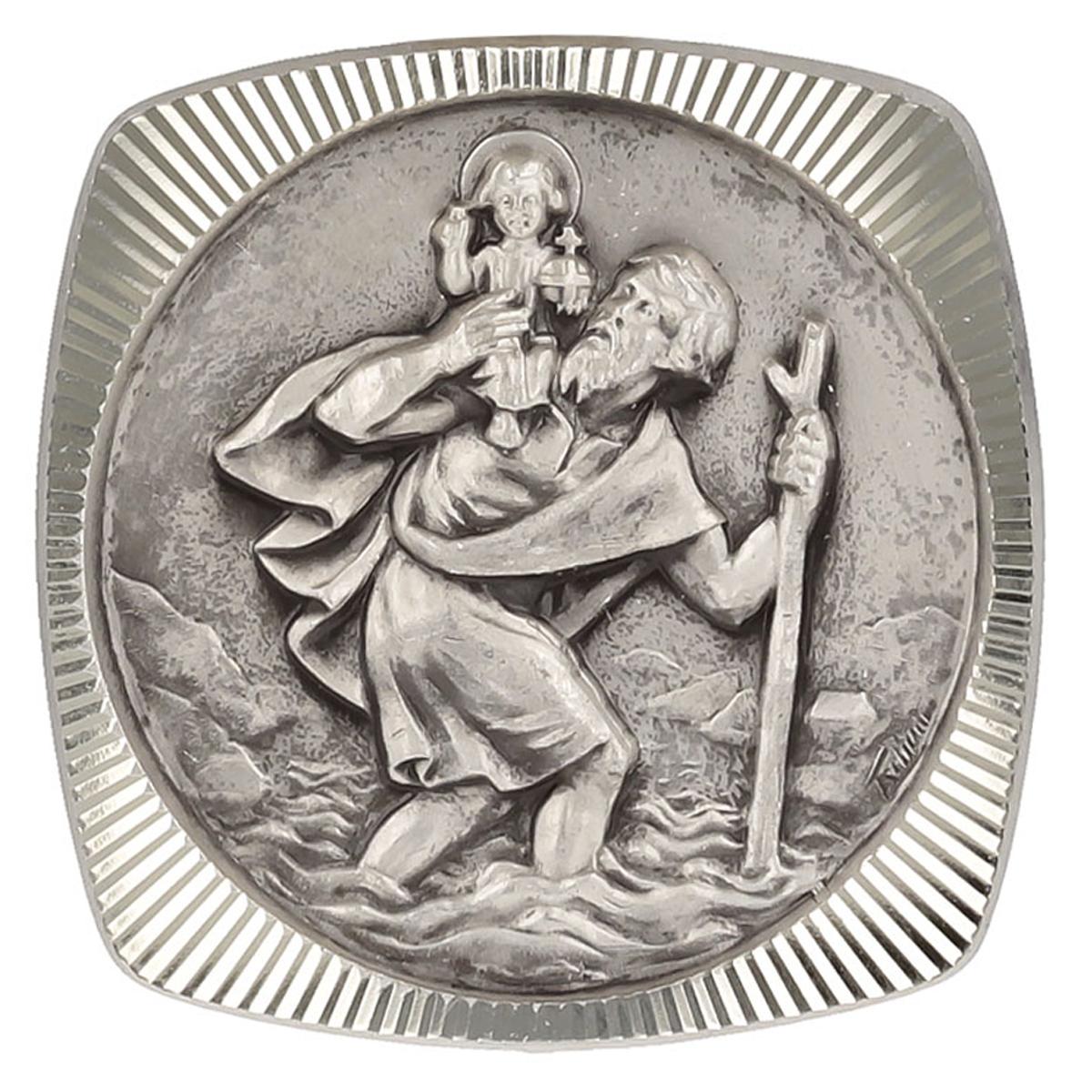 Magnet artisanal \'Saint Christophe\' argenté - 30x30 mm - [Q2985]