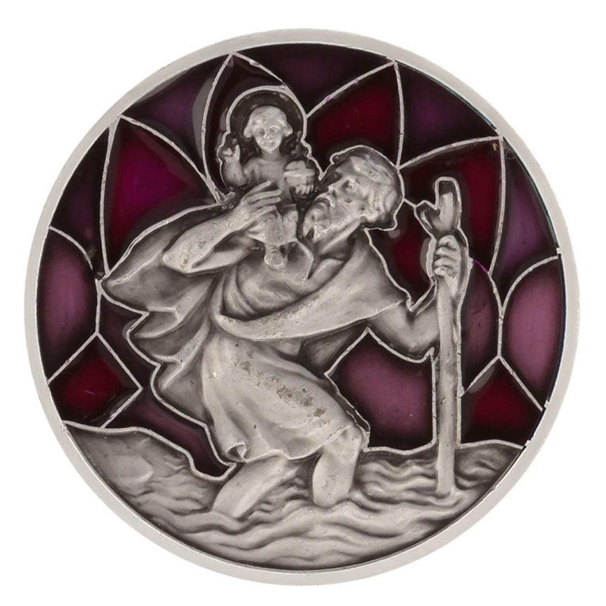 Magnet artisanal \'Saint Christophe\' violet argenté - 30x30 mm - [Q2986]