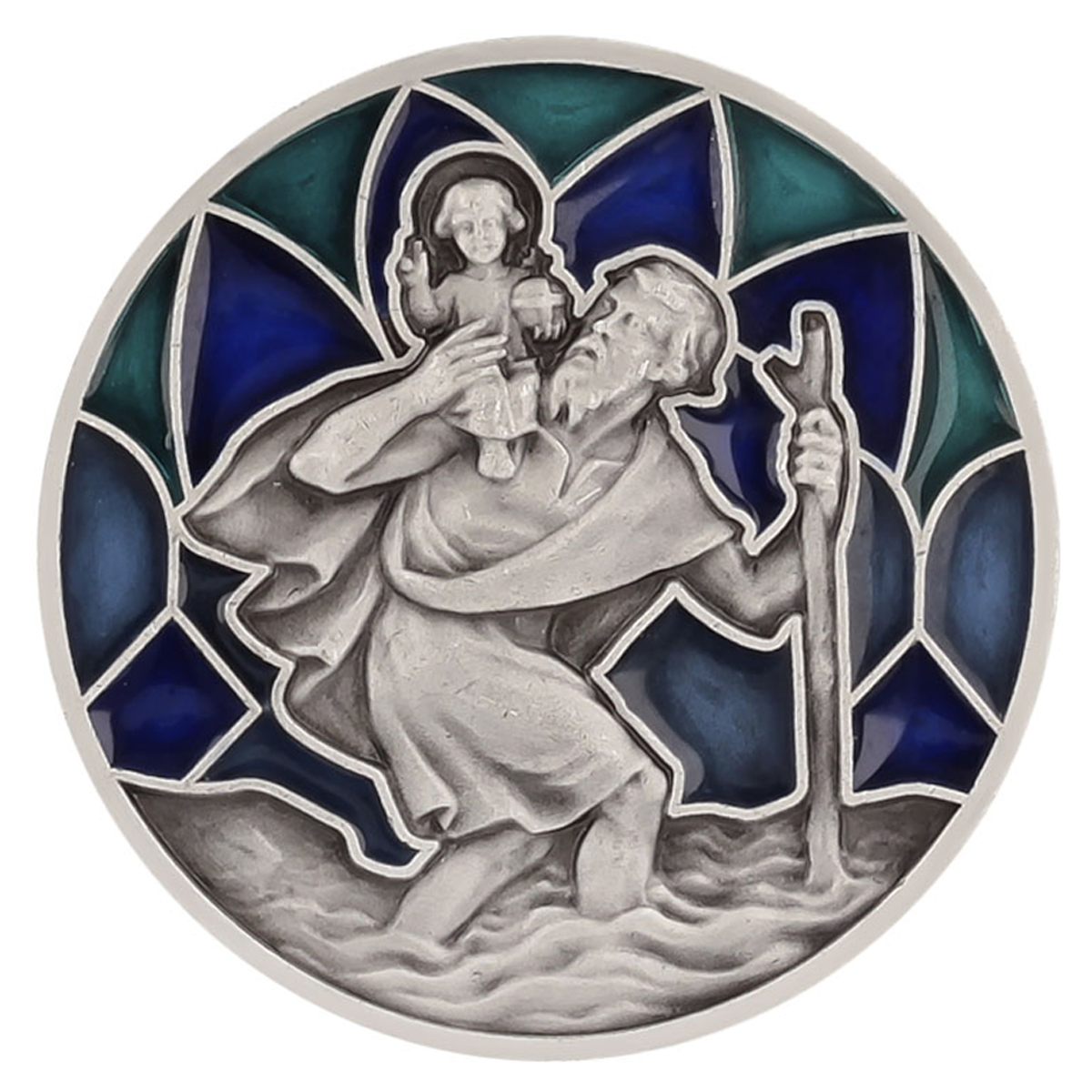 Magnet artisanal \'Saint Christophe\' bleu argenté - 30x30 mm - [Q2987]