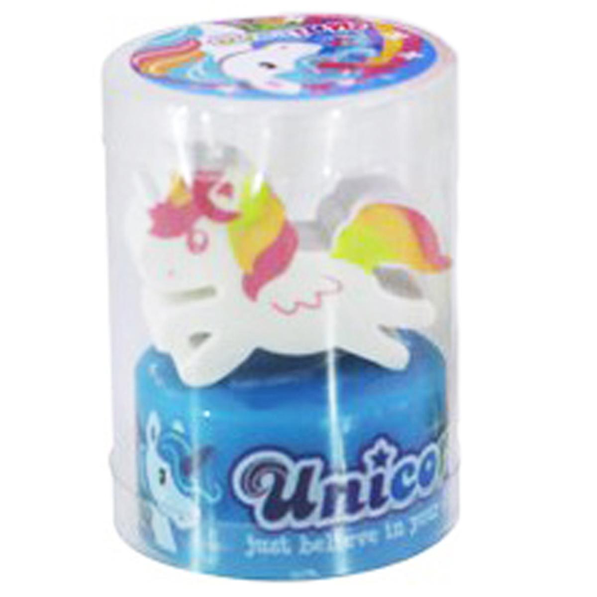 Set gomme et taille crayons \'Licorne My Unicorn\' bleu - 35x21x13 mm - [Q3034]