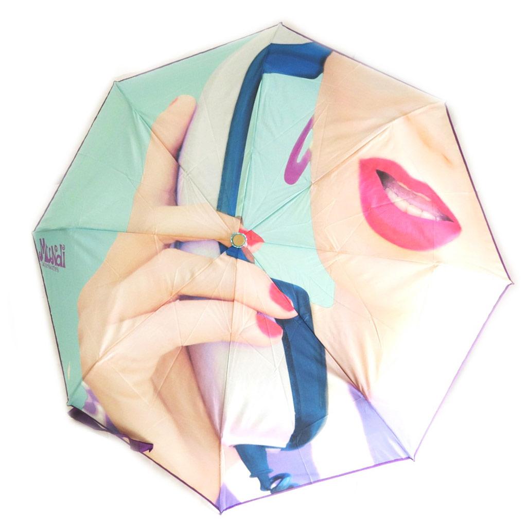 Parapluie mini manuel \'Mundi\' violet turquoise (visage) - 215 cm - [N5796]