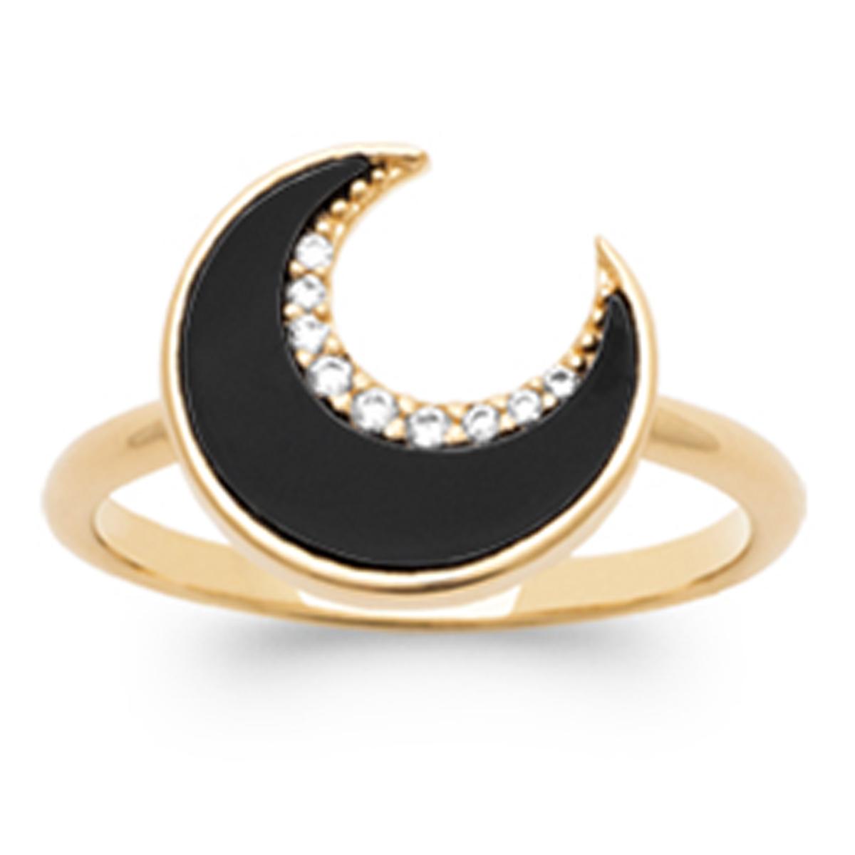 Bague Plaqué Or \'Luna\' noir doré - 12 mm - [R1167]