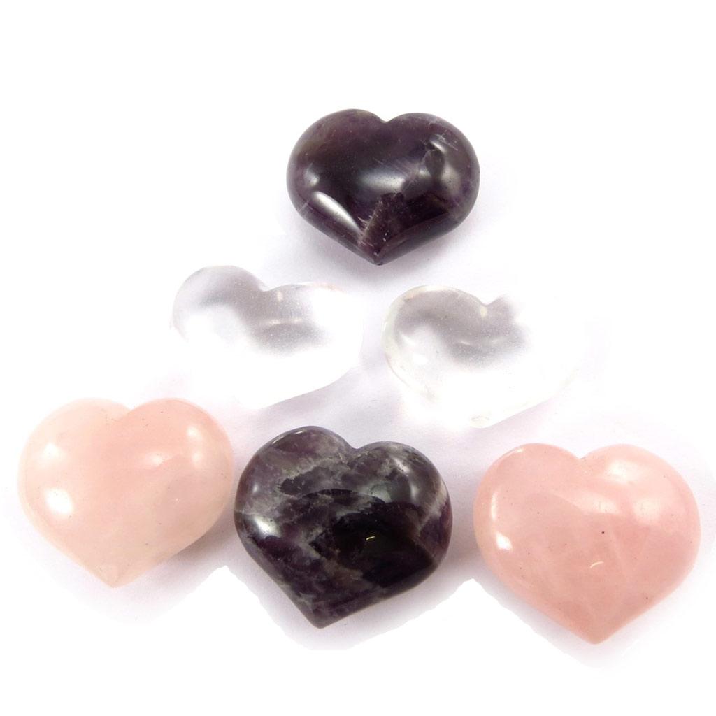 Set de 6 petits presses papier \'Love\' (pierres naturelles) - [K2200]