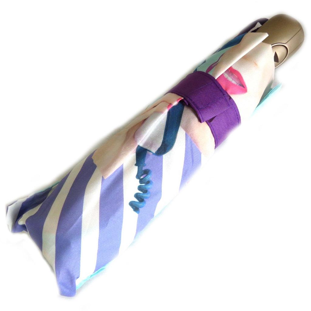 Parapluie automatique \'Mundi\' violet turquoise (visage) - 225 cm - [N5797]