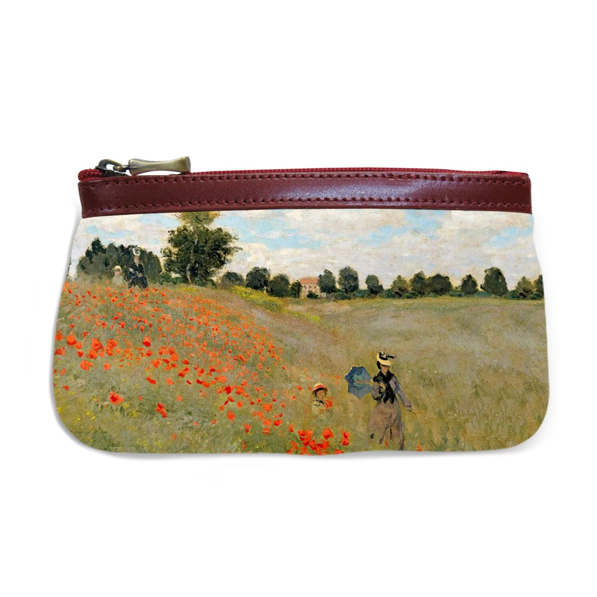 Pochette trousse artisanale \'Claude Monet\' (les Coquelicots)  - 17x12 cm - [Q6653]