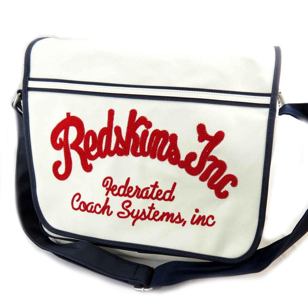 Sac bandoulière \'Redskins\' blanc vintage (format A4) - [J8436]