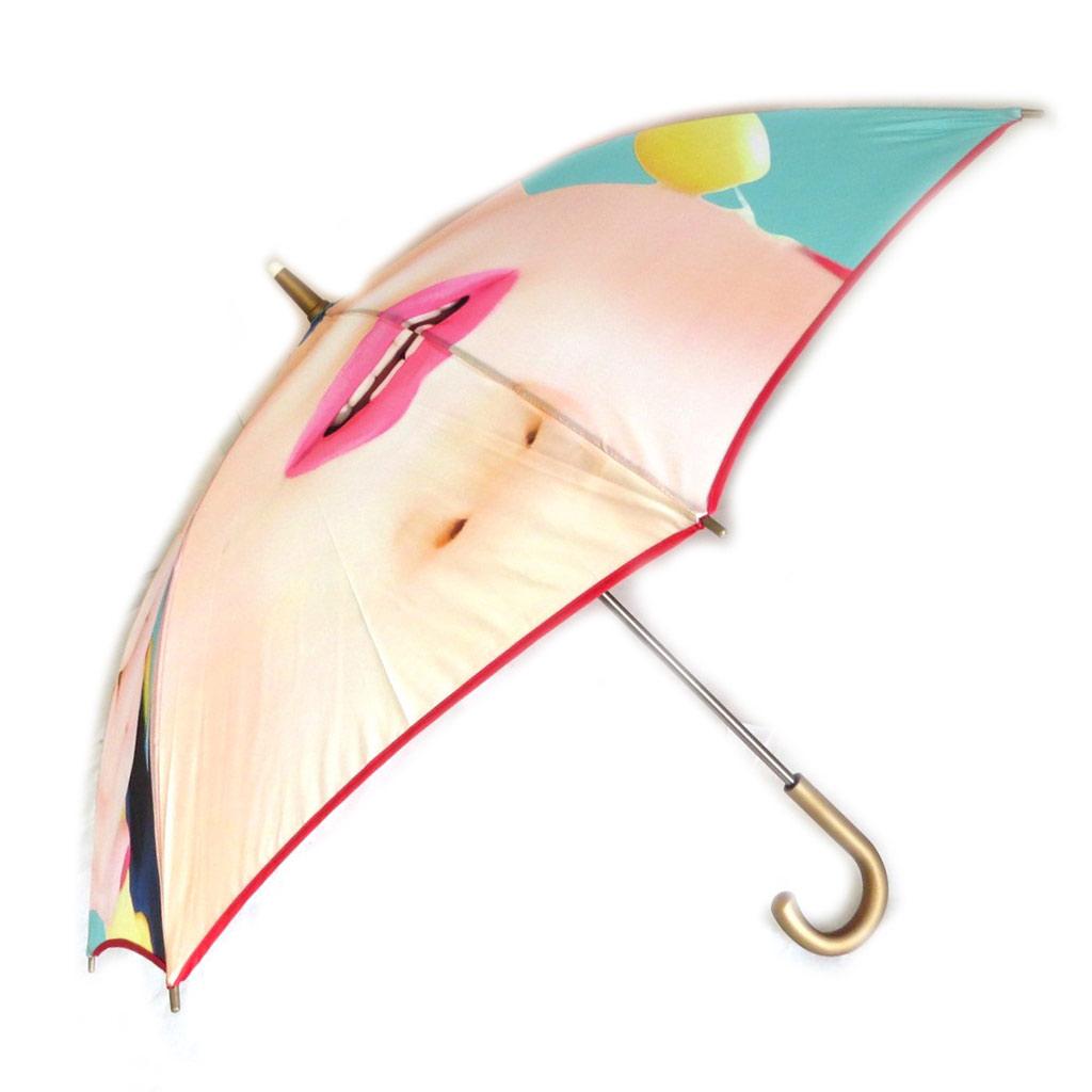 Parapluie canne \'Mundi\' rouge vert (visage) - 72 cm - [N5799]