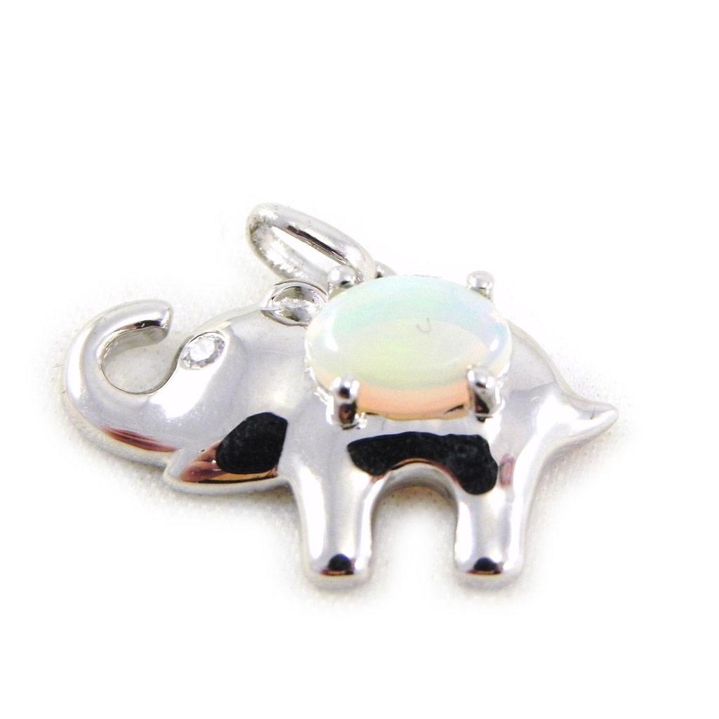 Pendentif Argent \'Déesse Opale\' éléphant Blanc - [G0795]