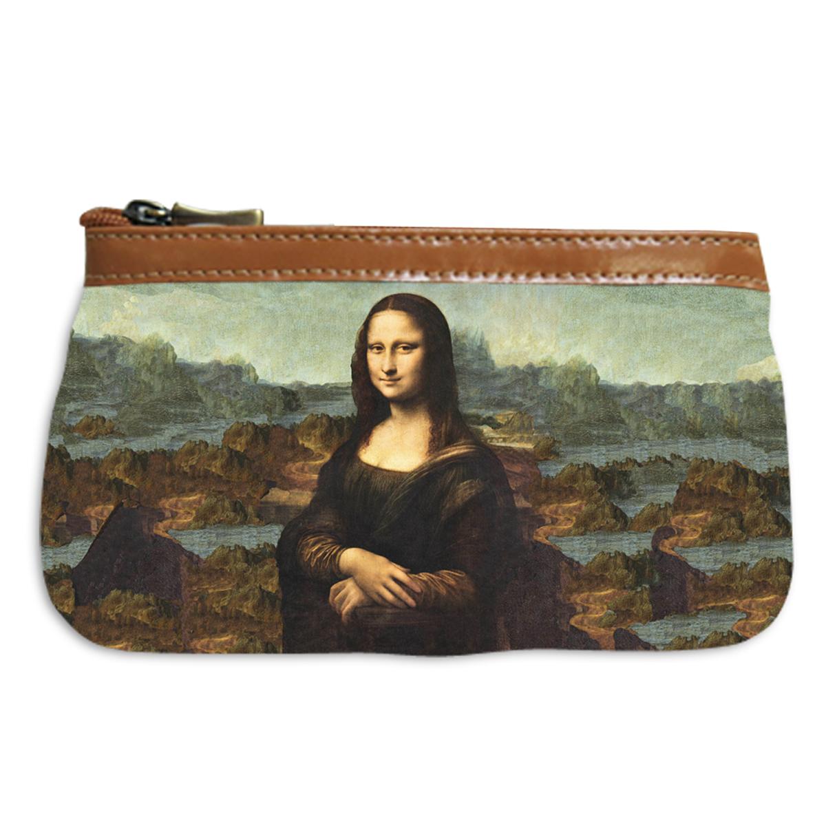 Pochette trousse artisanale \'Léonard de Vinci\' (la Joconde)  - 17x12 cm - [Q6657]