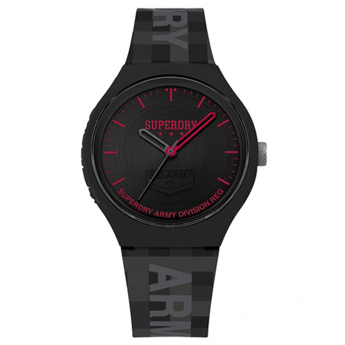 Montre silicone \'Superdry\' noir rouge - 45 mm - [Q8791]