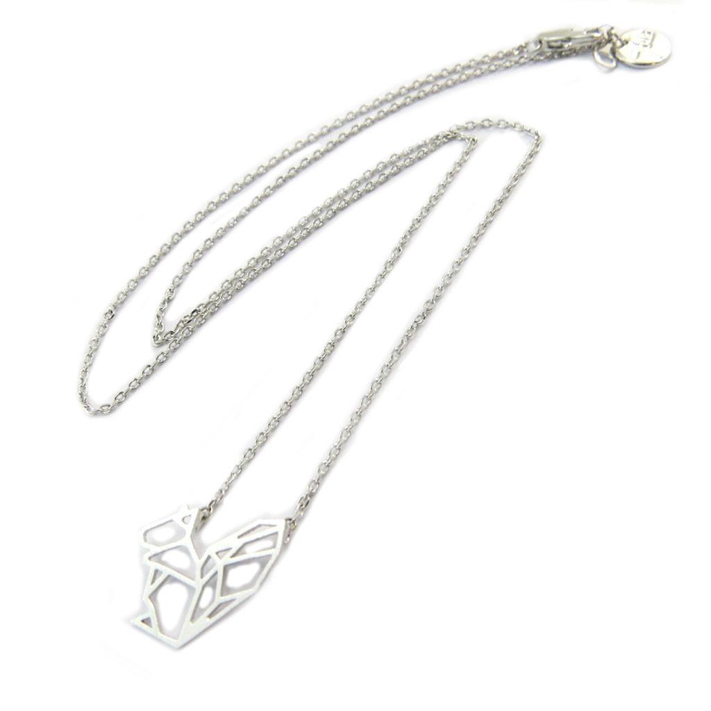 Collier artisanal \'Origami\' (écureuil) argenté - 15x14 mm - [P3904]