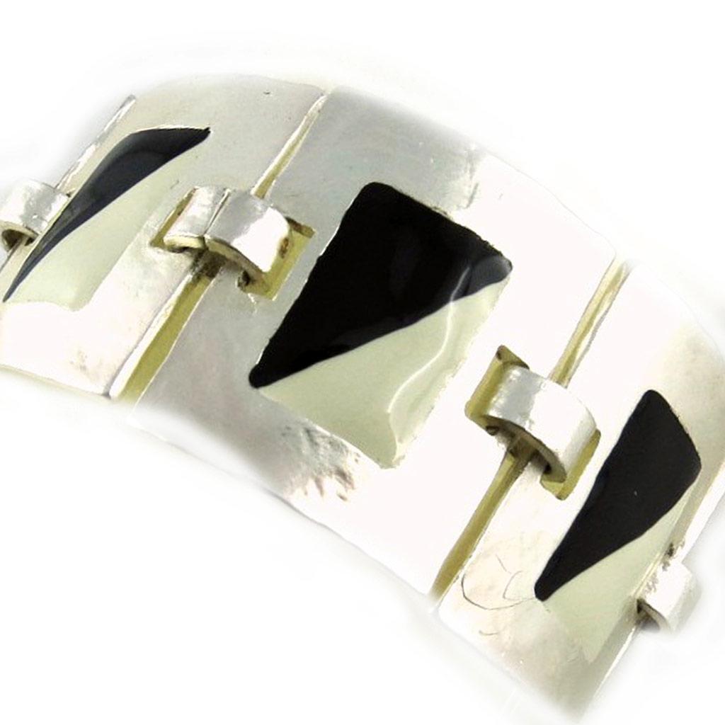 Bracelet Créateur \'DV- Zen\' Noir Blanc Argenté  - [E1582]