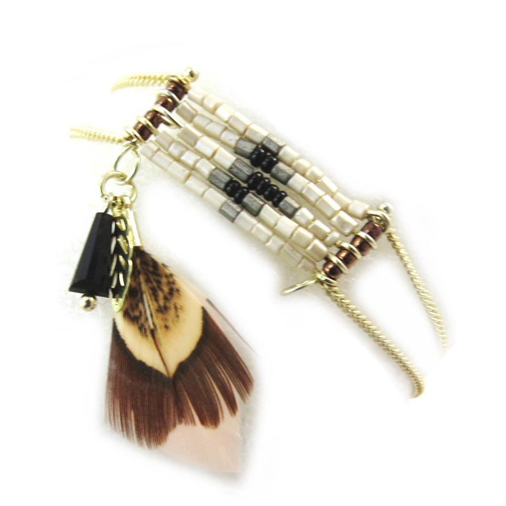 Bracelet \'Navajos\' marron doré - [N5015]