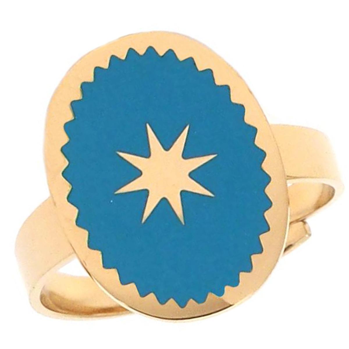 Bague créateur acier \'Boho\' turquoise doré - 16x12 mm - [Q0734]