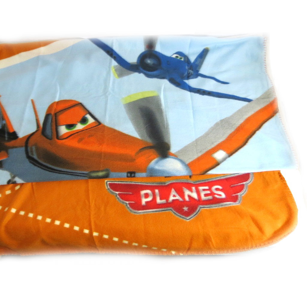 Plaid Polaire \'Planes\' bleu orange - [K8657]