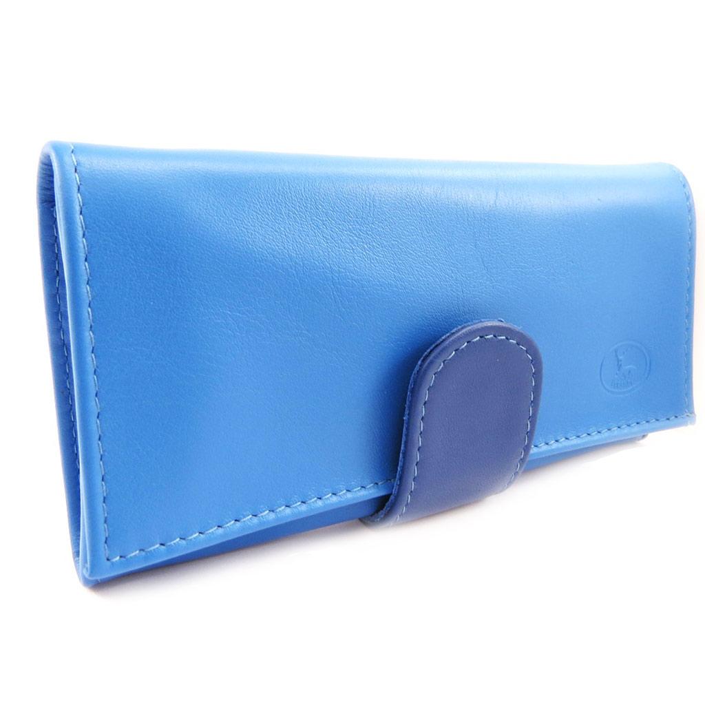 Grand porte-monnaie Cuir \'Frandi\' bleu 2 tons - [L4413]