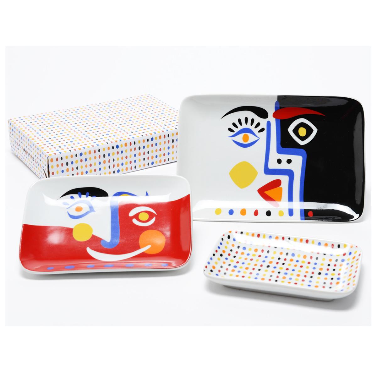 Set de 3 coupelles vide-poches porcelaine \'Cubisme\' multicolore - 23x16 cm - [Q9617]