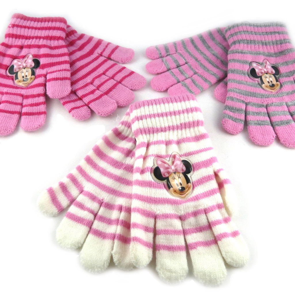 3 paires de gants Enfant \'Minnie\' blanc rose violet - [K8660]